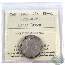 25-cent 1906 Large Crown ICCS Certified EF-40