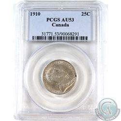 25-cent 1910 PCGS Certified AU-53.