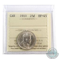 25-cent 1910 ICCS Certified EF-45. A Flashy Coin with exceptional eye appeal.