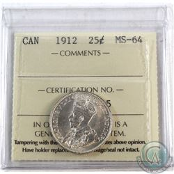 25-cent 1912 ICCS Certified MS-64. Bright white fields throughout.
