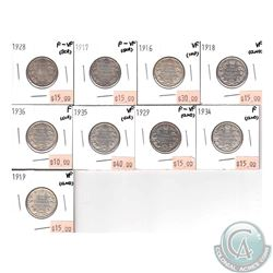 25-cent 1916, 1917, 1918, 1919, 1928, 1929, 1934, 1935 & 1936. Coins range from Fine to VF Condition