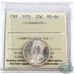 25-cent 1936 ICCS Certified MS-64