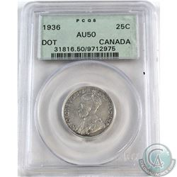 25-cent 1936 Dot PCGS Certified AU-50.