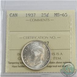 25-cent 1937 ICCS Certified MS-65. Blast White coin