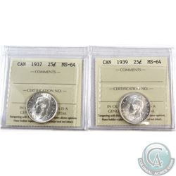 25-cent 1937 & 1939 ICCS Certified MS-64. 2pcs