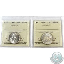 25-cent 1937 & 1940 ICCS Certified MS-64. 2pcs