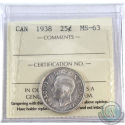 25-cent 1938 ICCS Certified MS-63