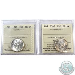 25-cent 1940 & 1942 ICCS Certified MS-64. 2pcs