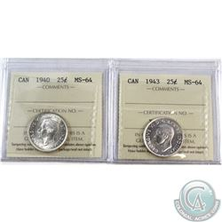 25-cent 1940 & 1943 ICCS Certified MS-64. 2pcs