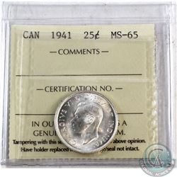 25-cent 1941 ICCS Certified MS-65. Blast White coin