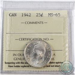 25-cent 1942 ICCS Certified MS-65