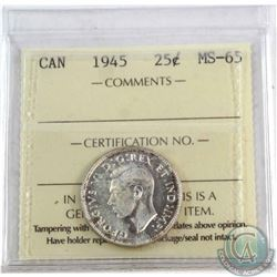 25-cent 1945 ICCS Certified MS-65. A bright flashy coin accented with hints of natural golden tones