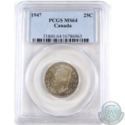 25-cent 1947 PCGS Certified MS-64.