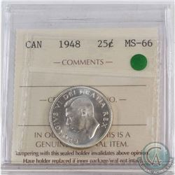 25-cent 1948 ICCS Certified MS-66  Gem Coin with Crisp strike details