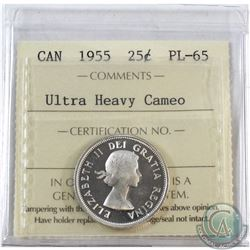 25-cent 1955 ICCS Certified PL-65 Ultra Heavy Cameo