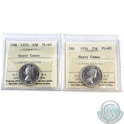 25-cent 1955 & 1956 ICCS Certified PL-65 Heavy Cameo. 2pcs