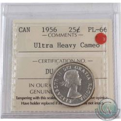 25-cent 1956 ICCS Certified PL-66 Ultra Heavy Cameo