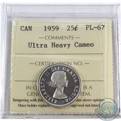 25-cent 1959 ICCS Certified PL-67 Ultra Heavy Cameo. Tied for finest known