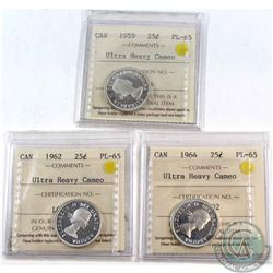 25-cent 1959, 1962, &1964 All ICCS Certified PL-65 Ultra Heavy Cameo  3pcs.