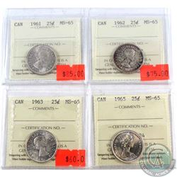 25-cent 1961, 1962, 1963, & 1965 all ICCS Certified MS-65  4pcs.