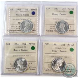 25-cent 1961, 1963, 1964 & 1965 All ICCS Certified MS-65 Heavy Cameo  4pcs.
