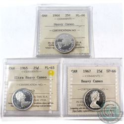 25-cent 1964 PL-66 Heavy Cameo, 1965 PL-65 Ultra Heavy Cameo, & 1967 SP-66 Heavy Cameo. All coins ha