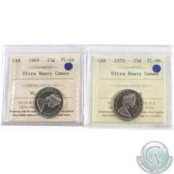 25-cent 1969 & 1970 Both ICCS Certified PL-66 Ultra Heavy Cameo  2pcs.