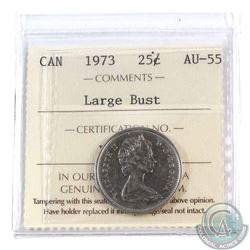 25-cent 1973 Large Bust ICCS Certified AU-55