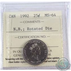 25-cent 1992 New Brunswick Rotated Die ICCS Certified MS-64