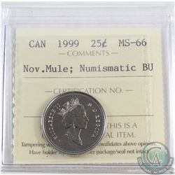 25-cent 1999 November Mule ICCS Certified MS-66 NBU