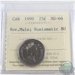 25-cent 1999 November Mule ICCS Certified MS-66 NBU