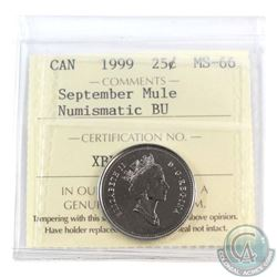 "25-cent 1999 September Mule ICCS Certified MS-66 NBU. Missing ""25 Cents"""