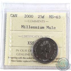 25-cent 2000 Millennium Mule ICCS Certified MS-63