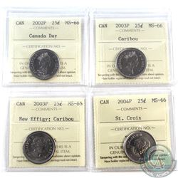 25-cent 2002P Canada Day, 2003P Caribou, 2003P New Effigy, 2004P St Croix ICCS Certified MS-66. 4pcs