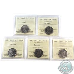25-cent 2004-2006 ICCS Certified MS-66. Included are 2004P Poppy, 2004P St. Croix, 2005P, 2006 Brave