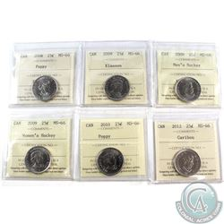 25-cent 2008-2012 ICCS Certified MS-66. Included are 2008 Poppy, 2009 Klassen, 2009 Men's Hockey, 20
