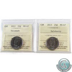 25-cent 2012 Tecumseh & 2013 Salaberry Both ICCS Certified MS-67. 2pcs.