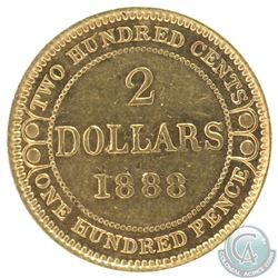 Newfoundland $2 1888 Gold AU-50. Coin contains some light scratches and pitting throughout the