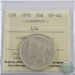 50-cent 1870 LCW ICCS Certified EF-40. An overall eye appealing consistent coin.