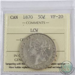 50-cent 1870 LCW ICCS Certified VF-20