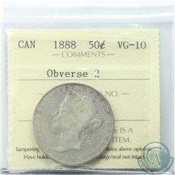 50-cent 1888 Obverse 2 ICCS Certified VG-10