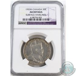 50-cent 1903H NGC Certified AU-details; Surface Hairlines.