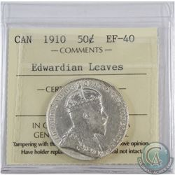 50-cent 1910 Edwardian Leaves ICCS Certified EF-40.