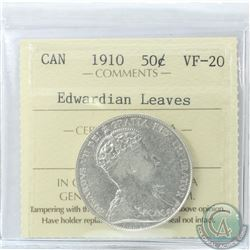 50-cent 1910 Edwardian Leaves ICCS Certified VF-20
