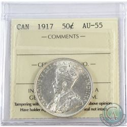 50-cent 1917 ICCS Certified AU-55. Bright coin with lots of Mint Luster.