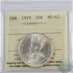 50-cent 1919 ICCS Certified MS-63 Blast White.