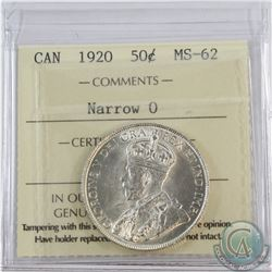 50-cent 1920 ICCS Certified MS-62. Flashy coin.