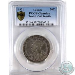 50-cent 1921 PCGS Certified 'Genuine' VG-Details (tooled) *King of Canadian Coins *