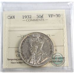 50-cent 1932 ICCS Certified VF-30  *KEY DATE*