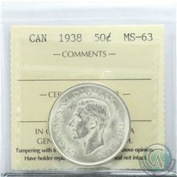 50-cent 1938 ICCS Certified MS-63. Nice Blast White coin.